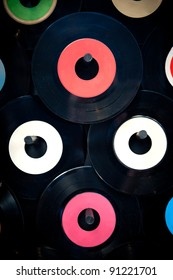 Vinyl record hanging from the wall ideal for backgrounds