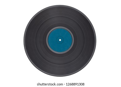 Vinyl record isolated on white background/dark blue label