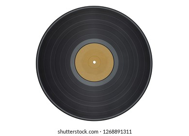 Vinyl record isolated on white background/yellow label