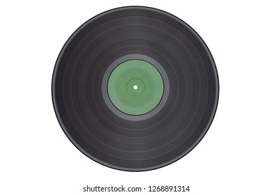 Vinyl record isolated on white background/green label