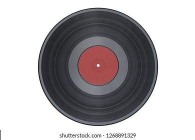 Vinyl record isolated on white background/red label