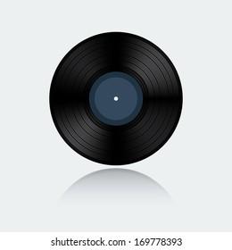 Vinyl record isolated on white background (raster illustration)
