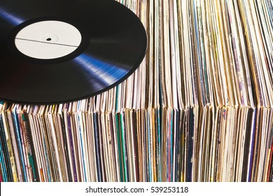 Vinyl record on a collection of albums