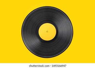 Vinyl-Aufnahme auf buntem Hintergrund. alte Vintage-Vinyl-Platte einzeln auf gelbem Hintergrund
