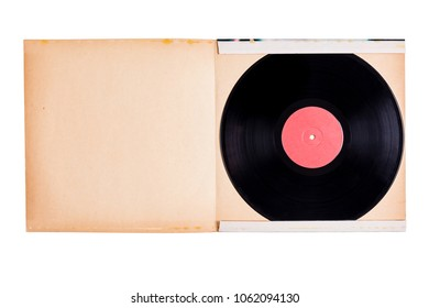 Vinyl record on old paper cover isolated against white background