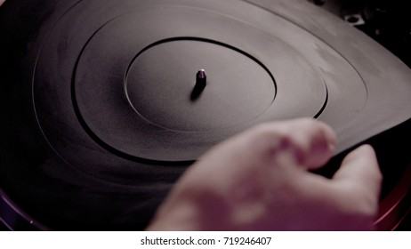 vinyl record on the player close-up. Analof millenial sound in nowadays