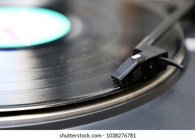Vinyl and record player, close-up