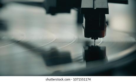 Vinyl record player needle macro shot