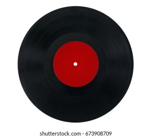 Vinyl record with red label. With clipping path