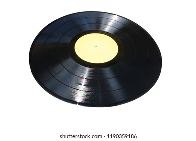 Vinyl record with yellow label isolated on white