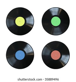 vinyl records with blank labels of different colors isolated