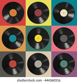 Vinyl records with colorful labels on colorful background. Raster version