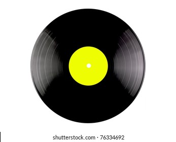 Vinyl records isolated against a white background