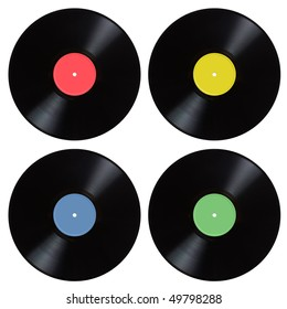 Vinyl records isolated on the white background.