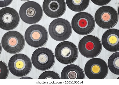 vinyl records set, LP collection on white background