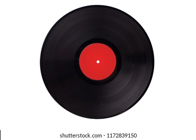 Vinyl vynil record play music vintage. Vinyl 33rpm record with red label. With clipping path.