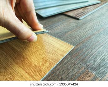 Vinyl wood plank pattern sheet choosing for floor tile installation by click lock system