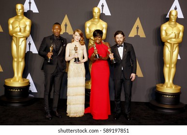 Viola Davis, Casey Affleck, Mahershala Ali and Emma Stone at the 89th Annual Academy Awards - Press Room held at the Hollywood and Highland Center in Hollywood, USA on February 26, 2017.