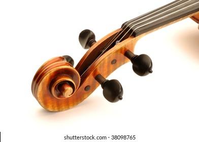 A viola scroll bath on white background