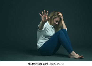 Violence against a woman in the family. The beaten up girl