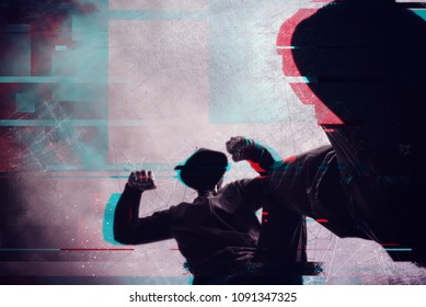 Violence and crime on the streets, digital glitch effect, victim is punched and mugged by aggressive violent man in hooded jacket, pov perspective