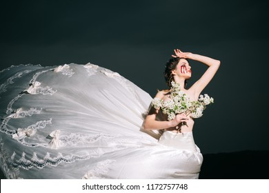 violence and cruelty. bloody tears on face of halloween woman in wedding dress. violence and cruelty concept. Which witch are you