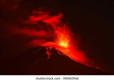 Violent Explosion Of Tungurahua Volcano At Night, Ecuador, South America