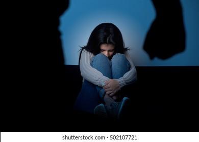 Violent husband abusing wife