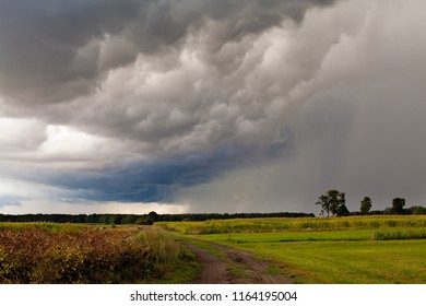 a violent storm with impressive dark clouds is catching up over a field in Northern Germany near Oldenburg in late summer