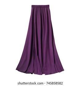 Violet airy subtle long elegant maxi skirt isolated white