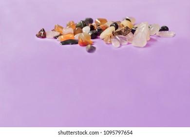 Violet background - Environment zen color minerals transmit positive energies - Holistic