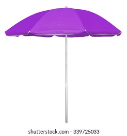 Violet beach umbrella isolated on white. Clipping path included.