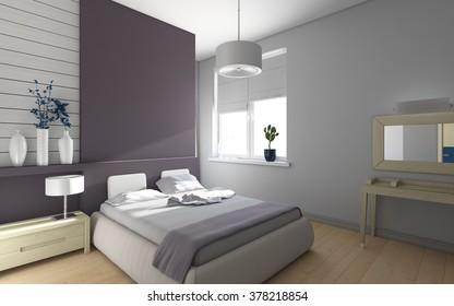 violet bedroom with blue flowers 3d rendering