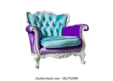 Violet and blue armchair isolated on the white background