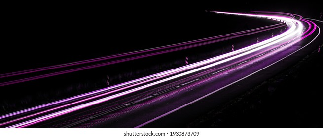 violet car lights at night. long exposure