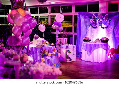 Violet decoration of unicorn for a feminine holiday