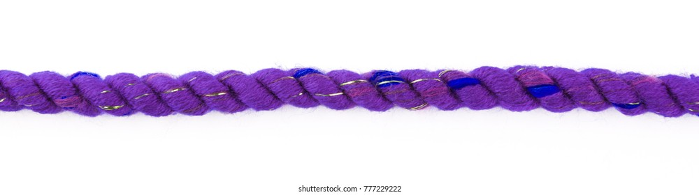 Violet decorative braided violet  curtain cord. Slice on white background