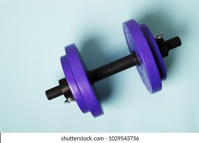 Violet dumbbell on the blue background Training concept