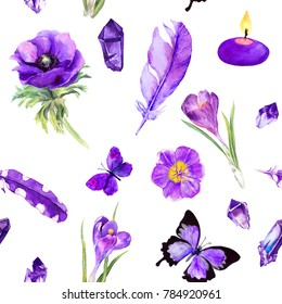 Violet elements - flowers, feathers, gemstones. Seamless pattern with ultra violet things. Watercolor