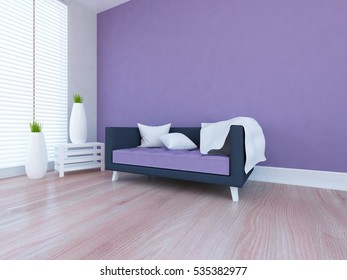 violet empty interior with a blue sofa, large window and vases. scandinavian interior. 3d illustration.