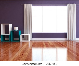 violet empty interior with curtains. 3d illustration