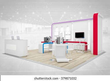 violet exhibition stand 3d rendering