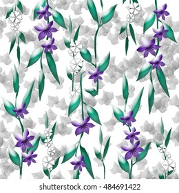 violet flowers and green vines scrapbook page illustration