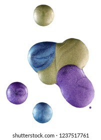 violet, green and blue nail polish drops isolated over white background