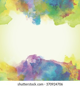 Violet, Green and Yellow Paper Watercolor Backdrop with colorful blobs and place for text.