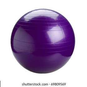 Violet gym ball for exercise the image isolated on white background