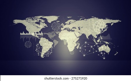 Violet holographic screen with molecule model and world map. Virtual background