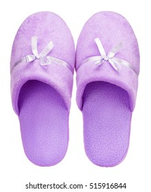 Violet Home soft slippers isolated on white background. Close up, top view