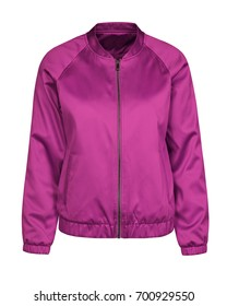 Violet hot pink bomber jacket isolated on white