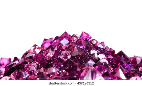 Violet jewel stones heap over white background